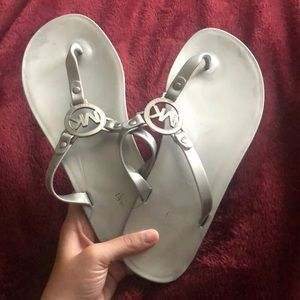 "Michael Kors Silver ""Jelly"" Sandals Size 9"